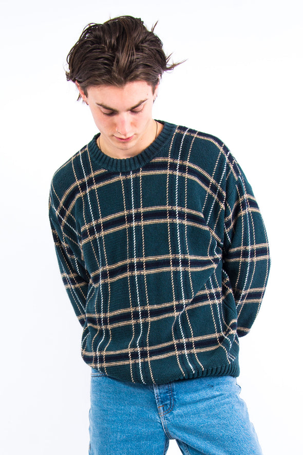 90's Checked Pattern Cotton Knit Jumper