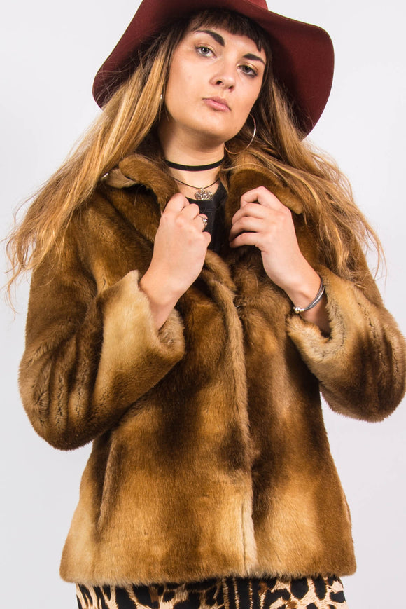 Vintage 70's Faux Fur Coat Jacket
