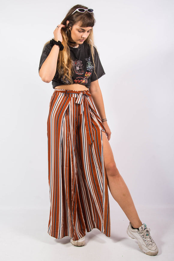Vintage 90's Striped Wide Leg Trousers