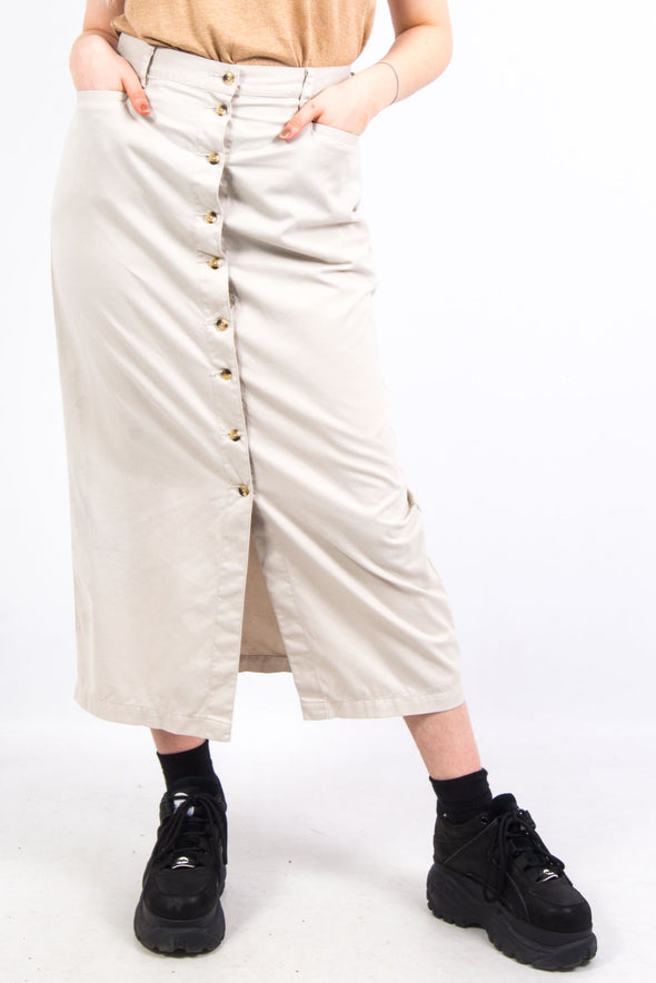 Vintage Beige Cotton Maxi Skirt