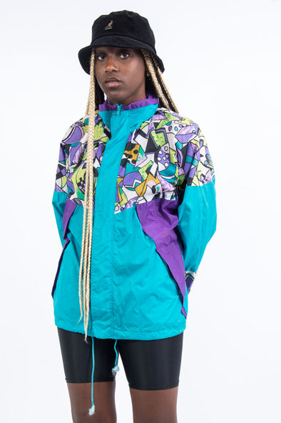 Vintage 90's Abstract Windbreaker Cagoule Jacket