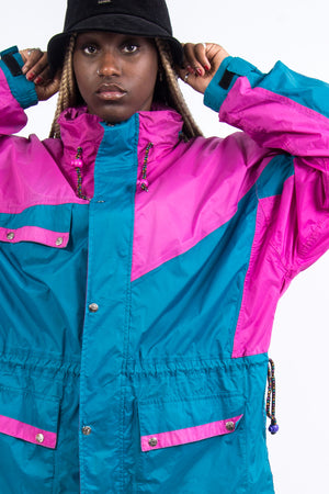 Vintage 90's Colour Block Windbreaker Cagoule Jacket