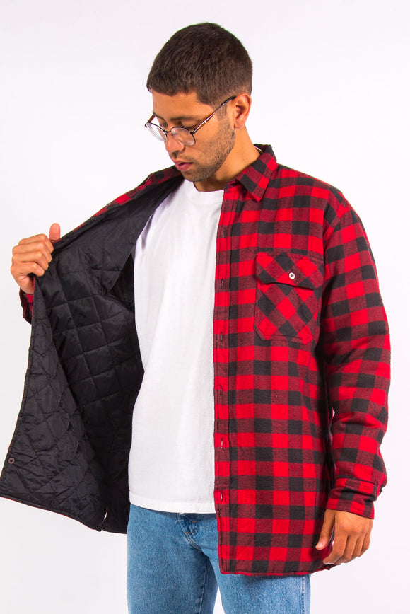 Vintage Red Check Padded Over Shirt