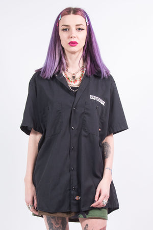 Vintage 90's Dickies Workwear Black Shirt