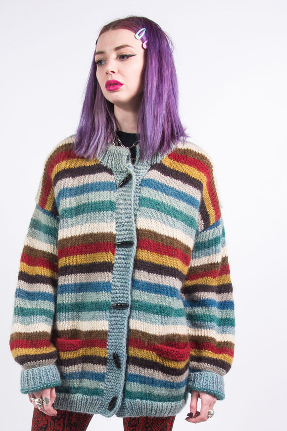 Vintage 90's Chunky Knit Striped Cardigan