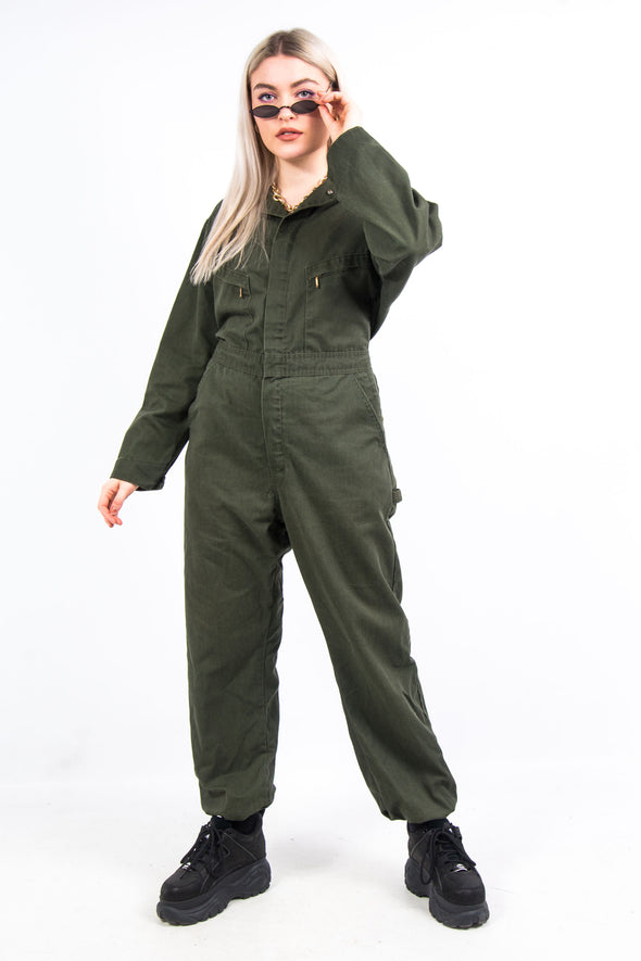 Vintage 90's Olive Green Boilersuit Jumpsuit