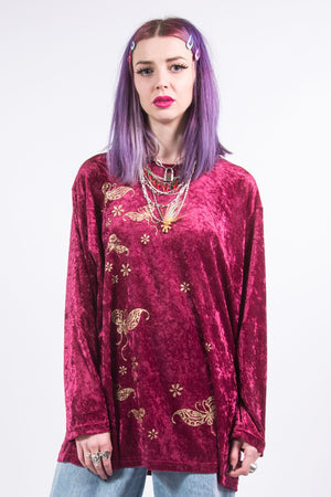 Vintage Y2K Pink and Gold Velvet Top