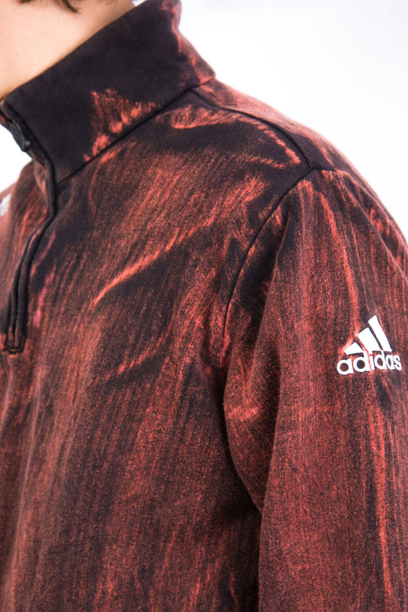 00's Adidas Bleach Dye 1/4 Zip Sweatshirt