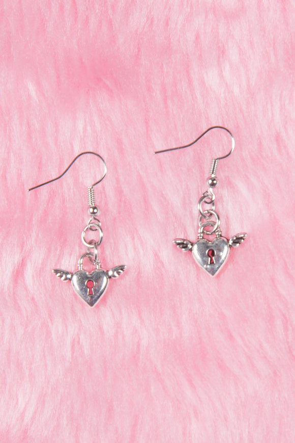 Vintage Heart Angel Earrings