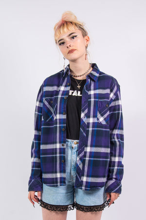 Vintage 90's Purple Checked Flannel Shirt