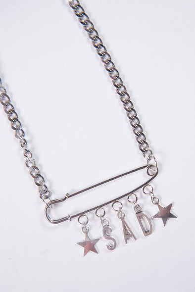 Sad Safety Pin Necklace