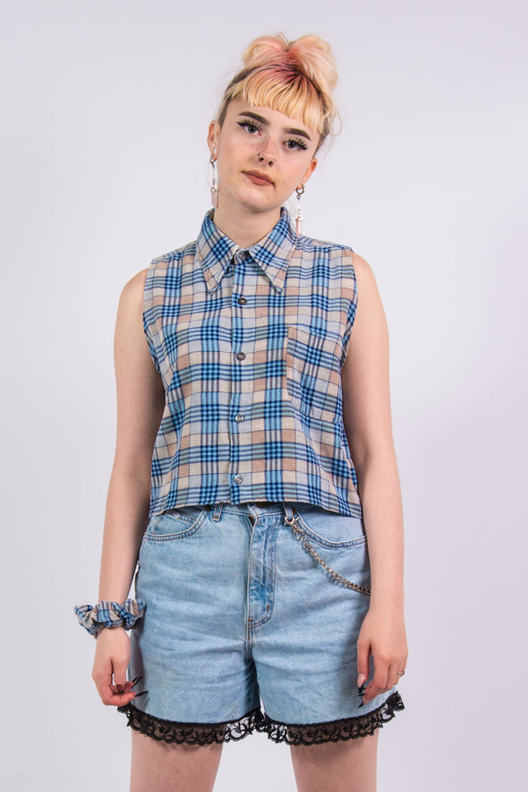 Vintage Cropped Flannel Shirt