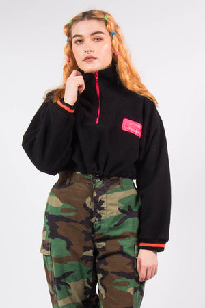 Vintage 90's Adidas Cropped Black and Pink Fleece