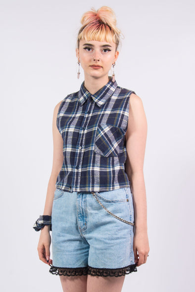 Vintage Checked Sleeveless Cropped Shirt