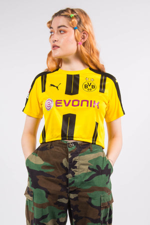 Vintage Y2K Borussia Dortmund Cropped Football Top T-Shirt