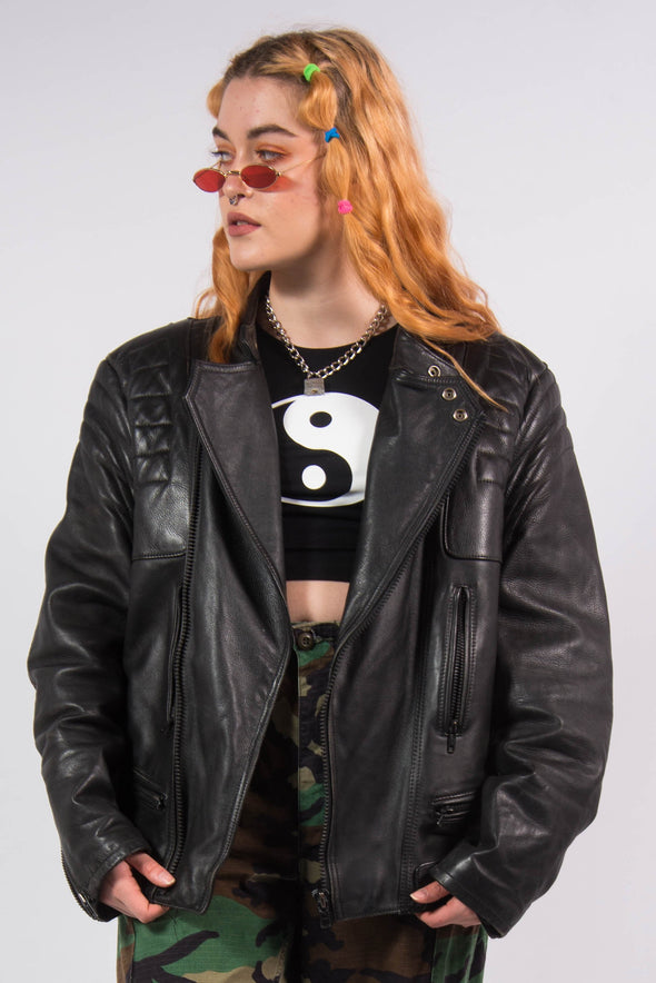 Vintage 90's Black Leather Biker Jacket