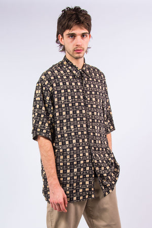 90's Vintage Short Sleeve Patterned Festival Shirt
