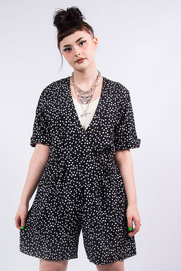 Vintage Black Polka Dot Playsuit