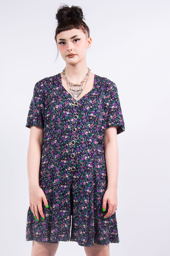 Vintage 90's Purple Floral Playsuit