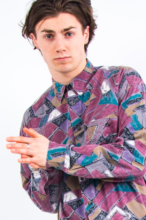 90's Pink Abstract Patterned Shirt