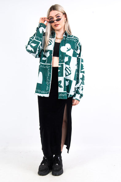 Vintage 90's Green Abstract Print Shirt