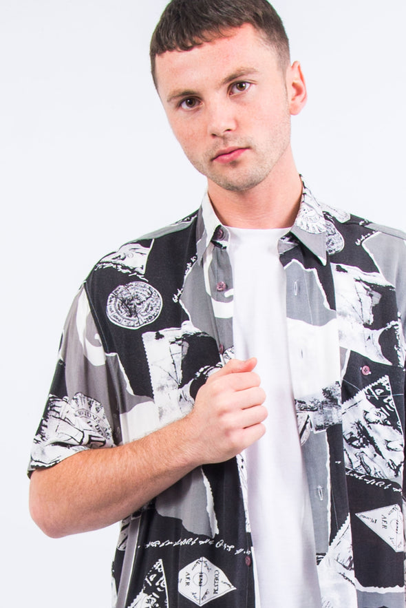 90's Monochrome Patterned Shirt
