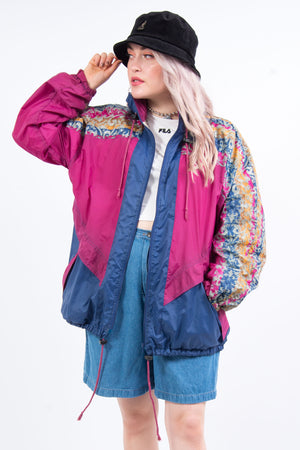 Vintage 90's Abstract Print Windbreaker Cagoule