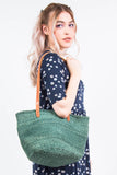 Vintage Green Hessian Bucket Bag