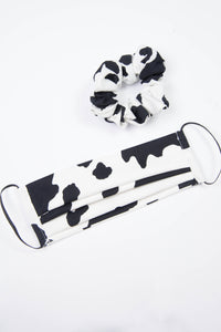 Cow Print Face Mask & Matching Scrunchie