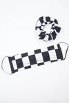 Checker Board Print Face Mask & Matching Scrunchie
