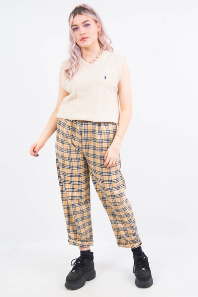 Nova Check Beige High Waist Trousers