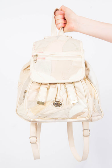Vintage 90's Cream Leather Patchwork Rucksack