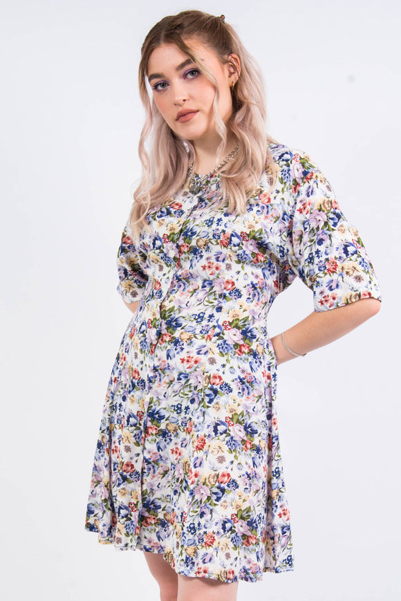 Vintage Floral Patterned Dress