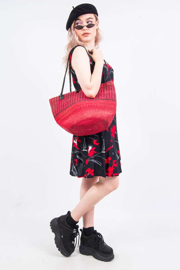 Vintage Red Straw Bucket Bag
