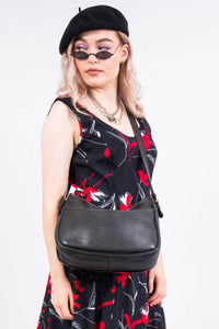 Vintage Black Leather Shoulder Bag