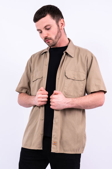 Vintage Beige Dickies USA Work Shirt
