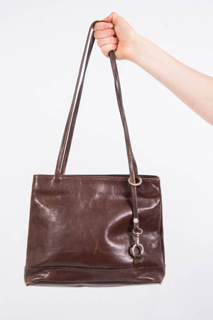 Vintage 90's Brown Leather Shoulder Bag