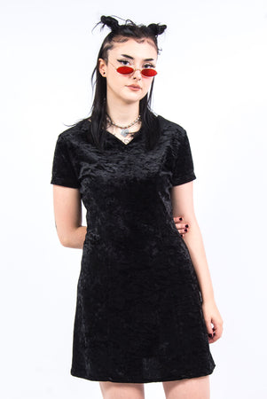 Vintage 90's Black Velvet Mini Dress