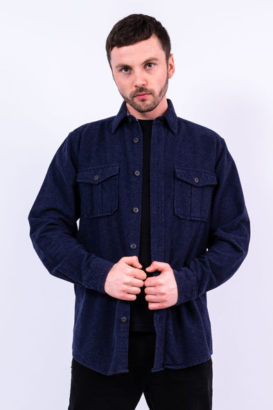 Plain blue Flannel Shirt