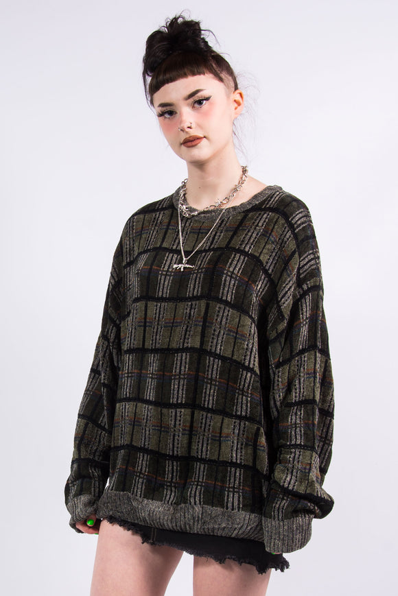 Vintage 90's Green Check Grunge Knit Jumper