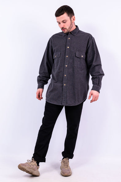 90's Thick Grey Flannel Shirt