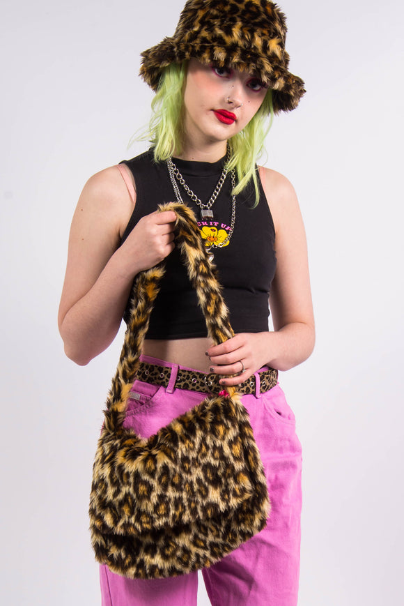 Y2K Leopard Print Fluffy Shoulder Bag