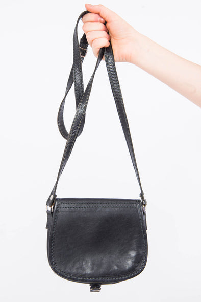 Vintage Black Leather Saddle Bag