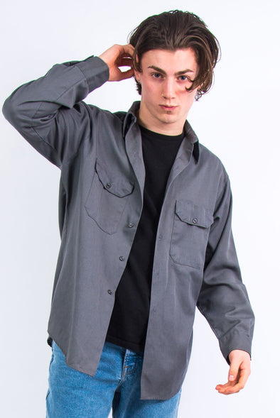 Vintage Plain Grey USA Work Shirt