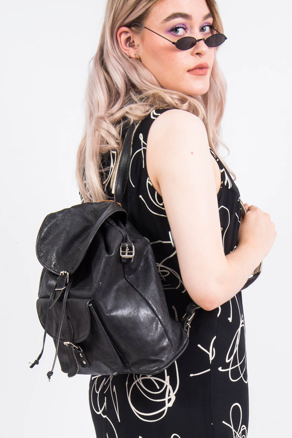 Vintage 90's Leather Rucksack Backpack