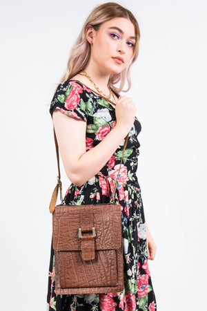 Vintage 70's Tan Leather Satchel Bag