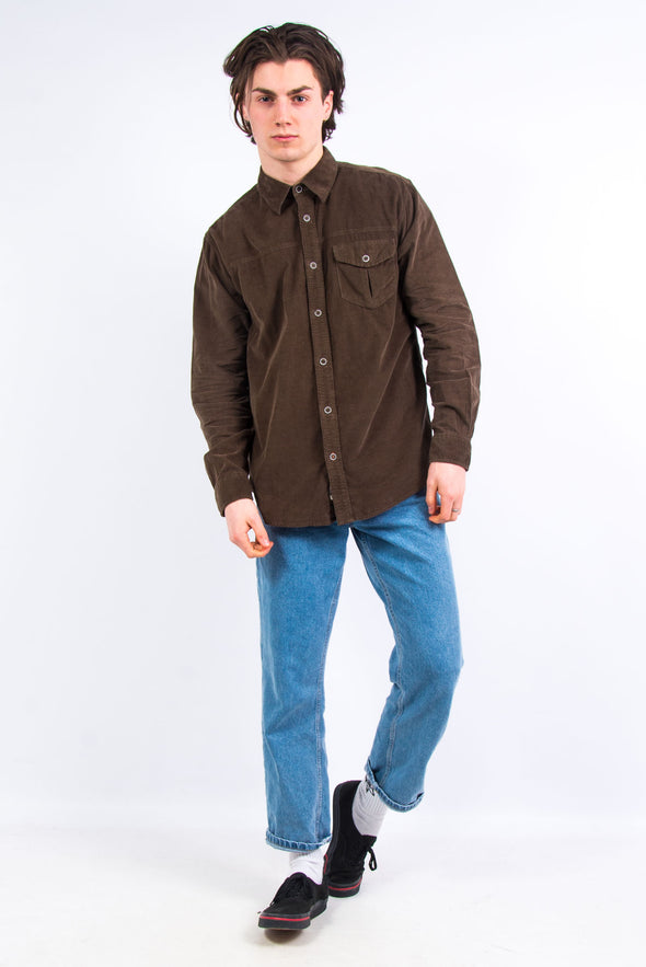 00's Brown Casual Cord Shirt