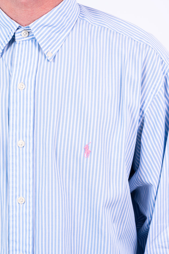 90's Ralph Lauren Blue Striped Shirt