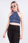 Rework Y2K Blue Bandana Crop Top
