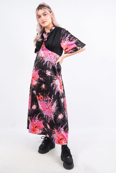 Vintage 70's Frill Neck Maxi Dress